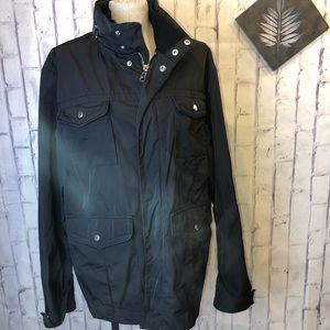Zara Man black nylon lined coat. Size XXL